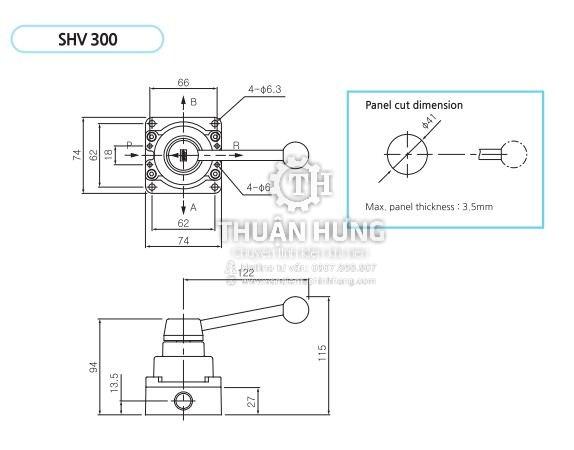 Kích thước của van gạt tay khí nén SKP SHV300-03