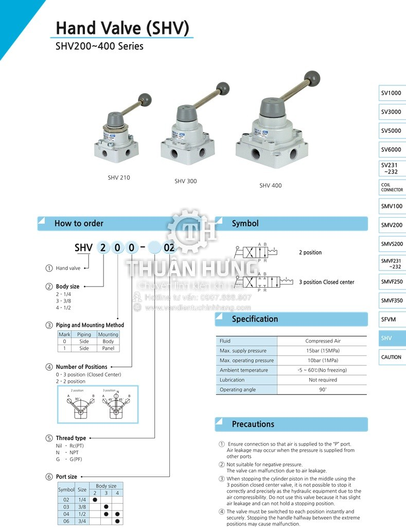 Thông số kỹ thuật của van gạt tay khí nén SKP SHV300-03