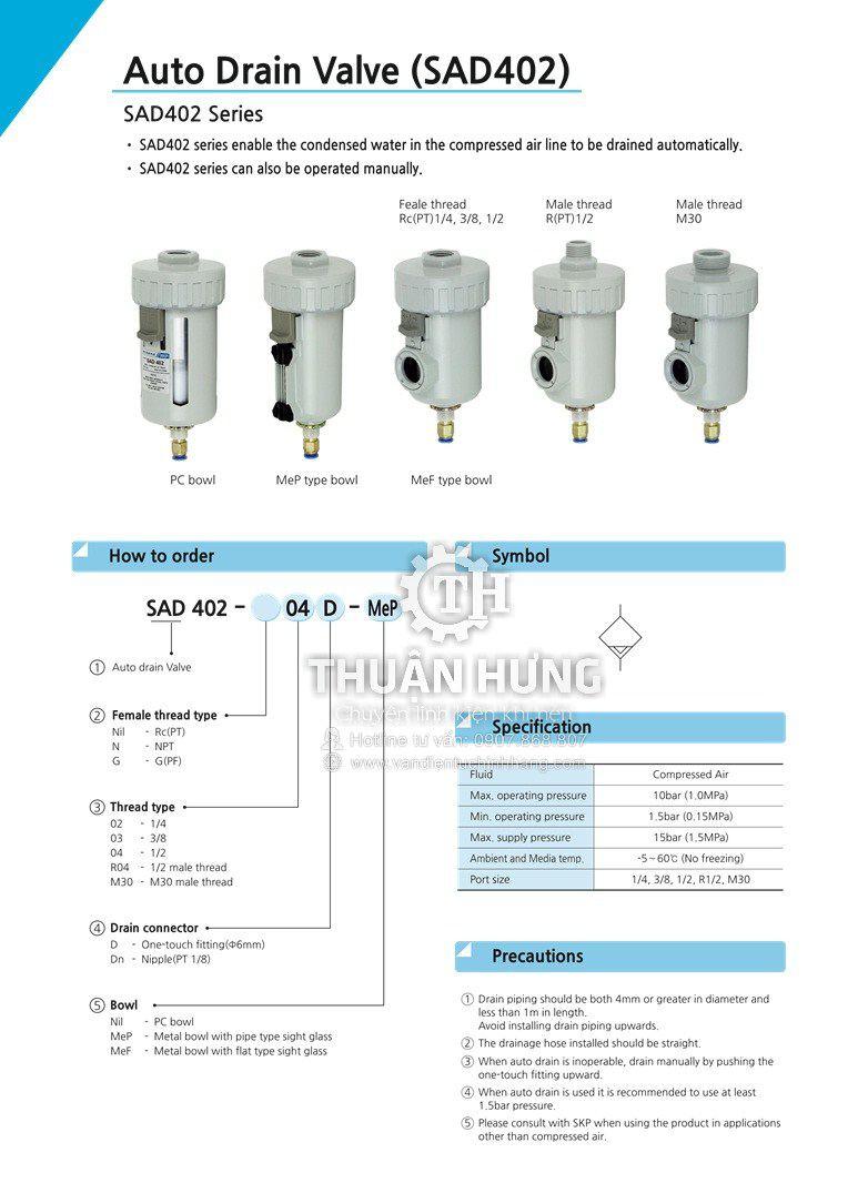 Thông số kỹ thuật của bộ xả nước tự động SKP SAD402-04