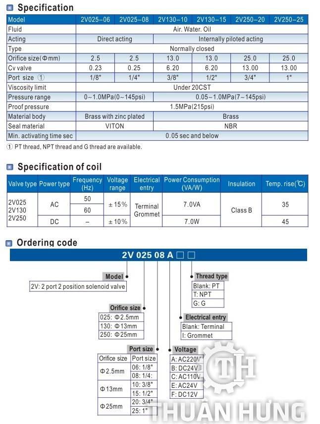 Thông số kỹ thuật của van điện từ nước AIRTAC 2V025-08