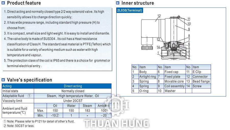 Cấu tạo và tính năng của van điện từ INOX AIRTAC 2L050-10