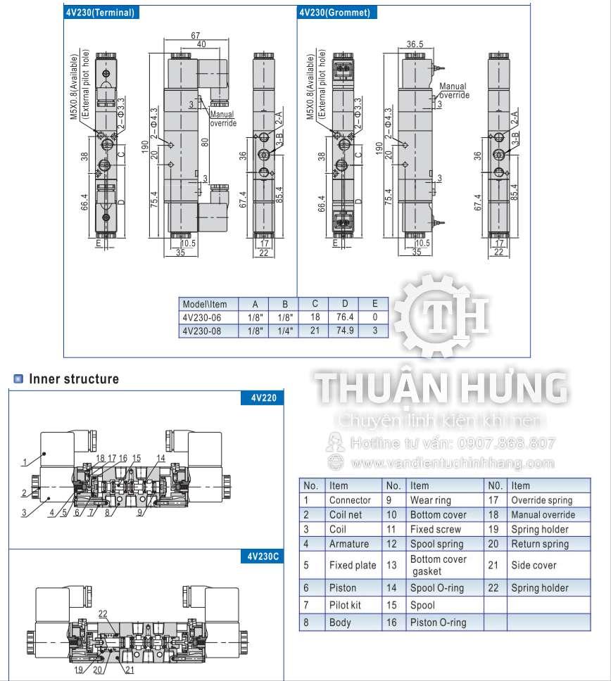Cấu tạo và kích thước của van điện từ khí nén AIRTAC 4V230-08