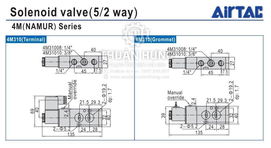 Kích thước và cấu tạo của van điện từ khí nén AIRTAC 4M310-10