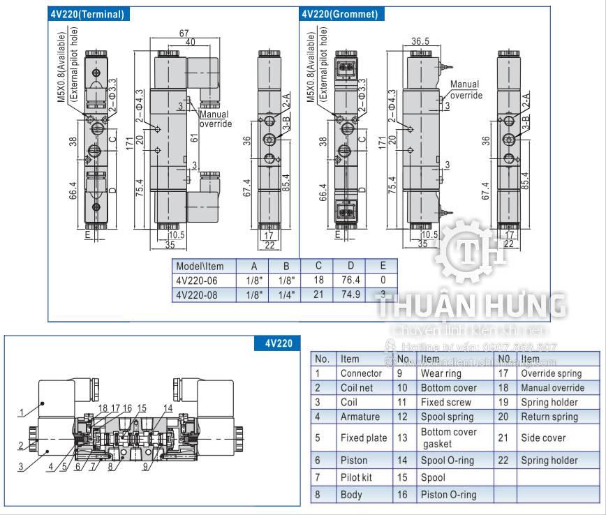 Kích thước của van điện từ khí nén AIRTAC 4V220-08