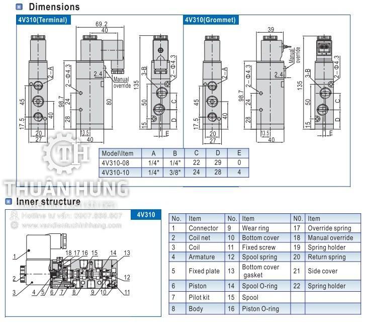 Kích thước của van điện từ khí nén AIRTAC 4V310-10