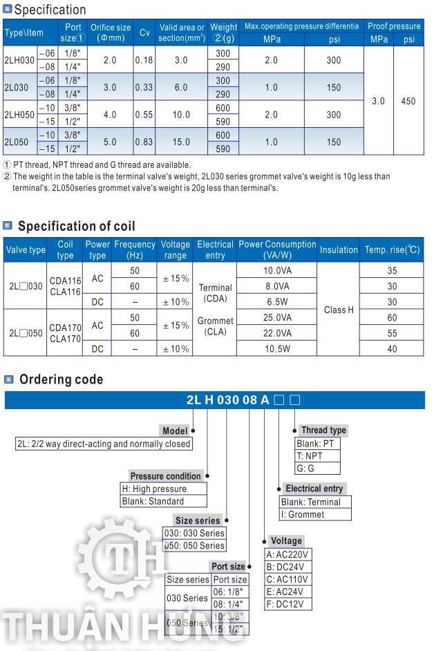 Thông số kỹ thuật và tính năng của van điện từ INOX AIRTAC 2L050-10