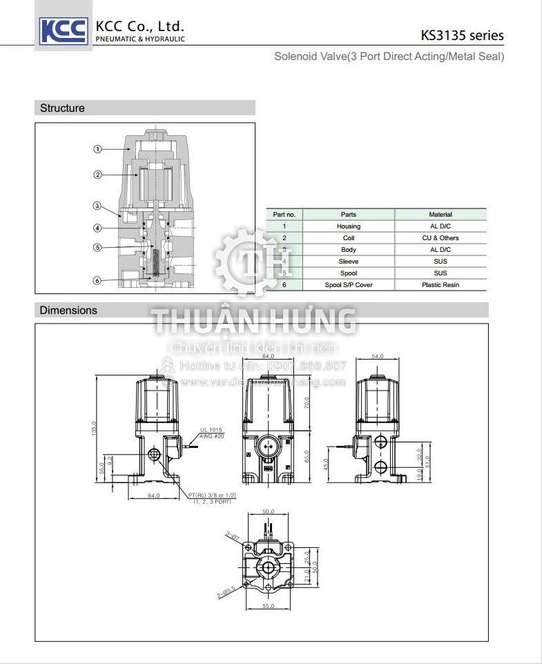Thông số kỹ thuật và kích thước của van điện từ khí nén 3/2 KCC KS3135-042G