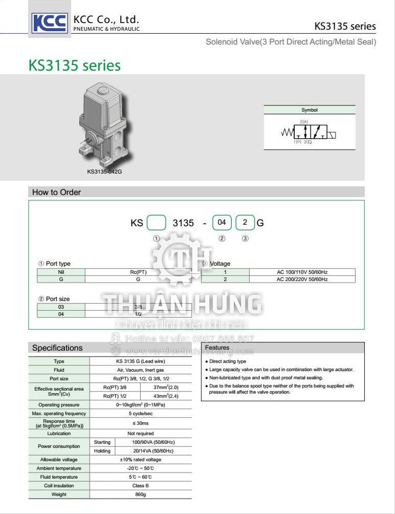 Thông số kỹ thuật và tính năng của van điện từ khí nén 3/2 KCC KS3135-042G