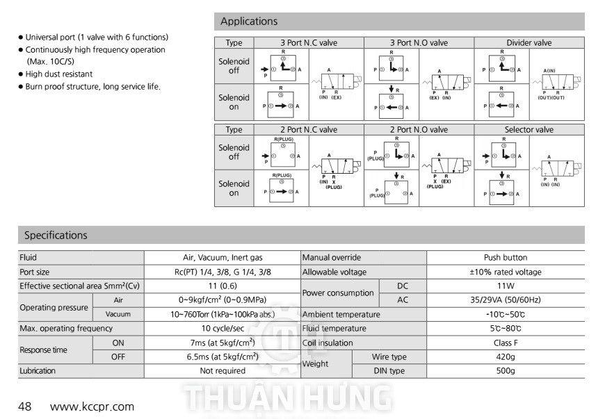 Thông số kỹ thuật và tính năng của van điện từ khí nén 3/2 KCC KT317-03