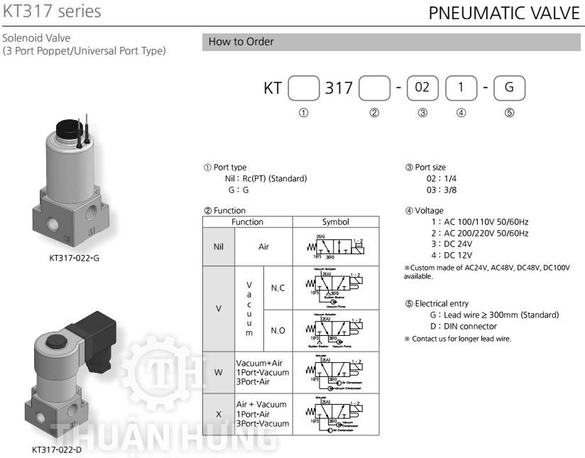 Thông số kỹ thuật của van điện từ khí nén 3/2 KCC KT317-03