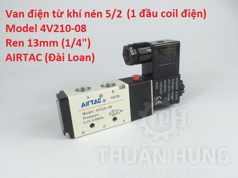 Van khí nén 5/2 1 đầu coil điện AIRTAC