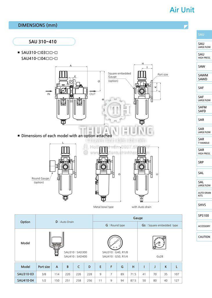 Thông số kích thước của bộ lọc khí nén đôi SKP SAU4010-04