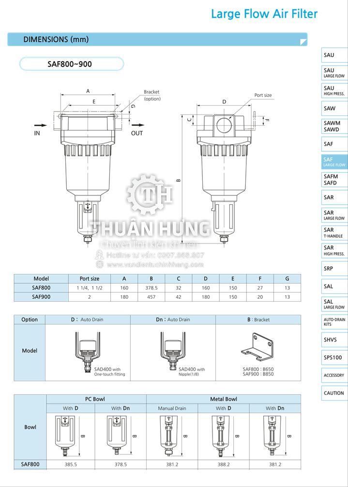 Thông số kỹ thuật và kích thước của bộ lọc khí nén SAF9000