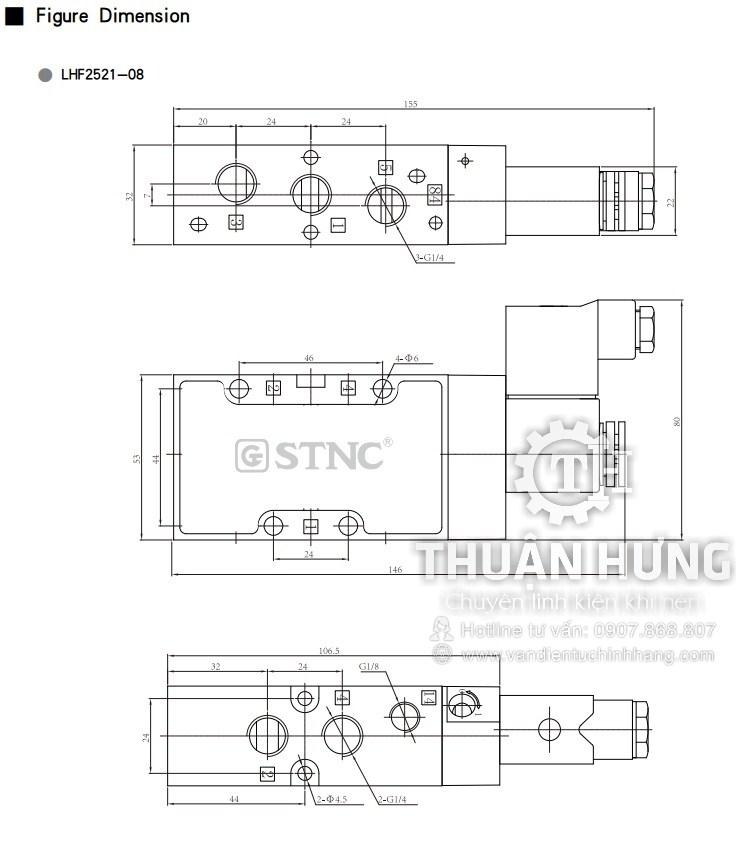 Thông số kích thước của van điện từ khí nén 5/2 STNC LHF2511-06