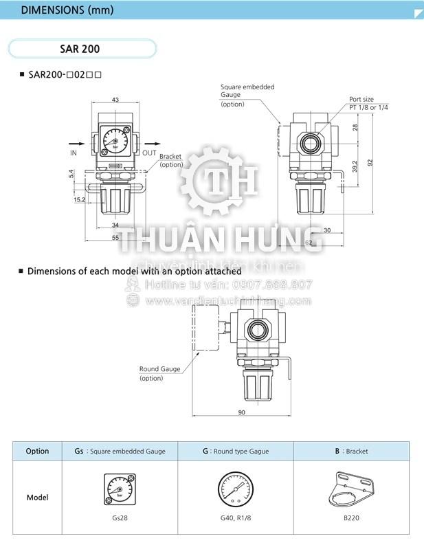 Kích thước của van điều áp khí nén SKP SAR2000-02
