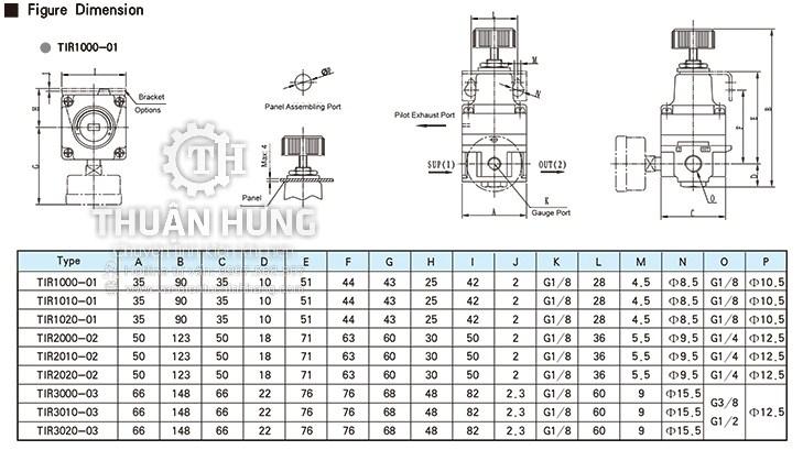 Thông số kỹ thuật và kích thước của van điều áp khí nén STNC TIR2000 TIR2010 TIR2020