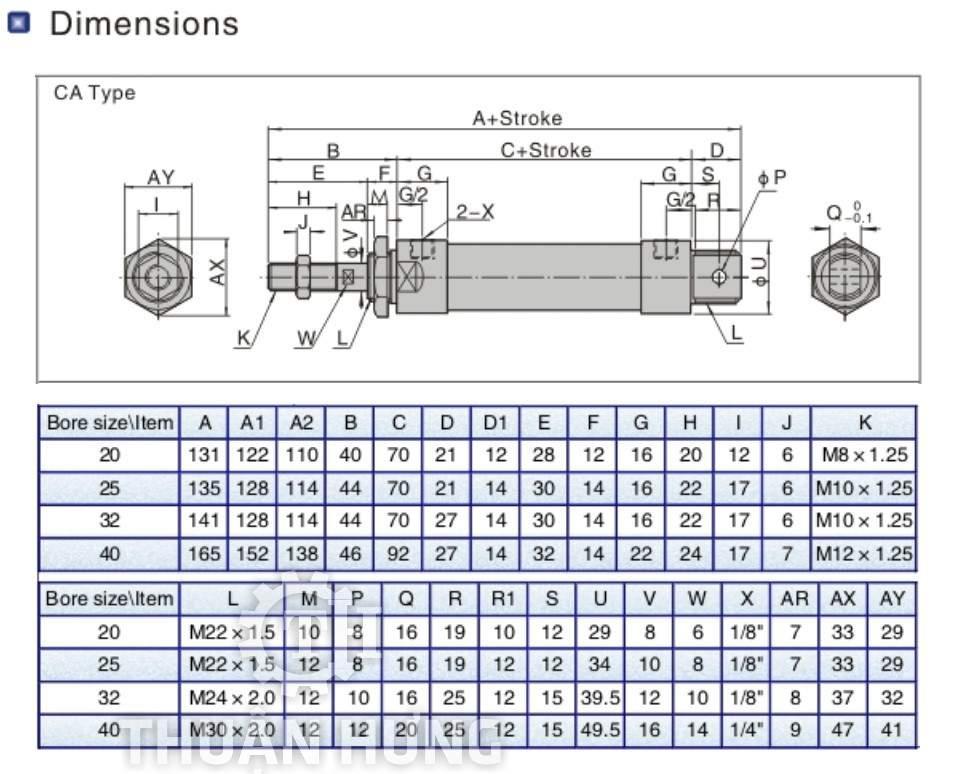 Kích thước và cấu tạo của xi lanh khí nén AIRTAC MAL32