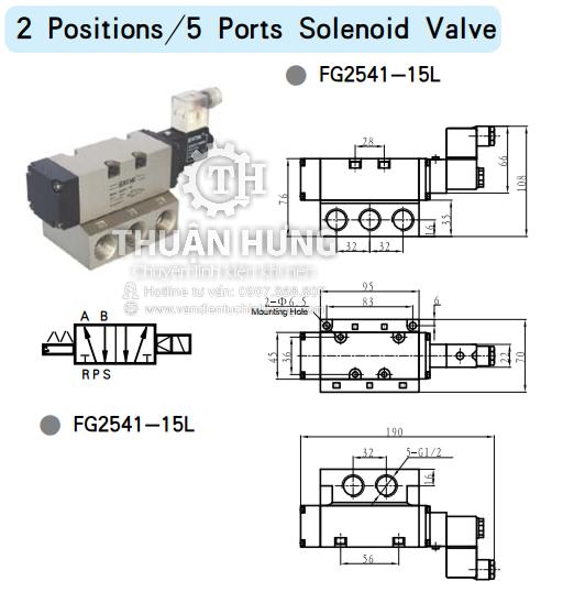 Thông số kích thước của van solenoid 5/2 STNC FG2541-15L
