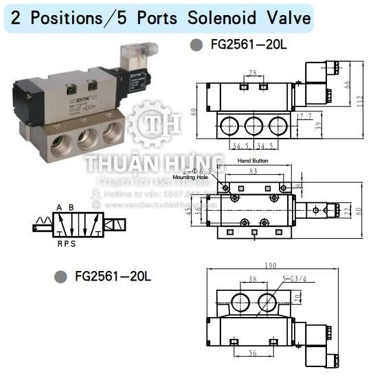 Thông số kích thước của van solenoid 5/2 STNC FG2561-20L