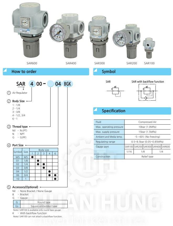 Thông số kỹ thuật của van điều áp khí nén SKP SAR2000-02