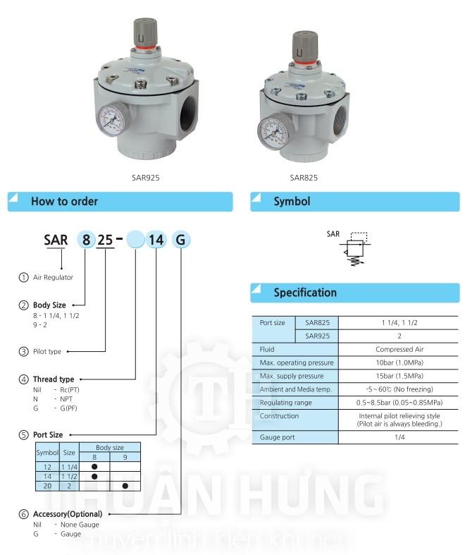 Thông số kỹ thuật của van điều áp khí nén SKP SAR825