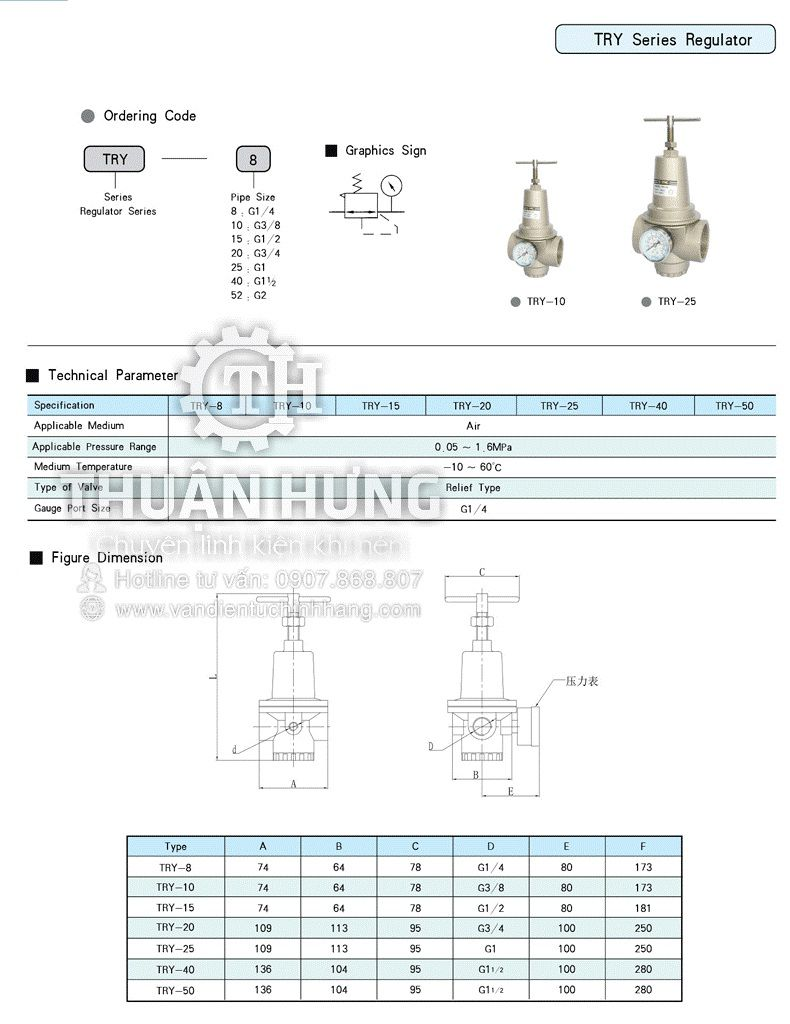 Thông số kỹ thuật và kích thước của van điều áp khí nén cao áp STNC TRY-40