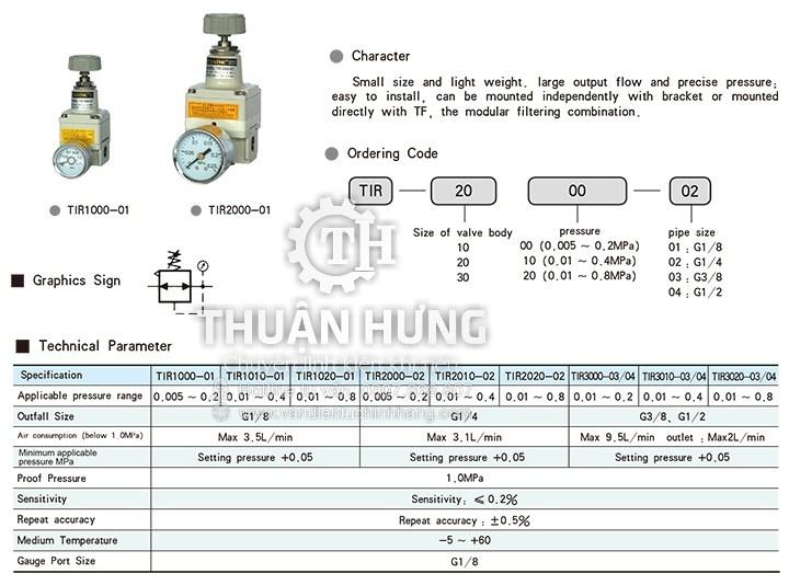 Thông số kỹ thuật và tính năng của van điều áp khí nén STNC TIR2000 TIR2010 TIR2020