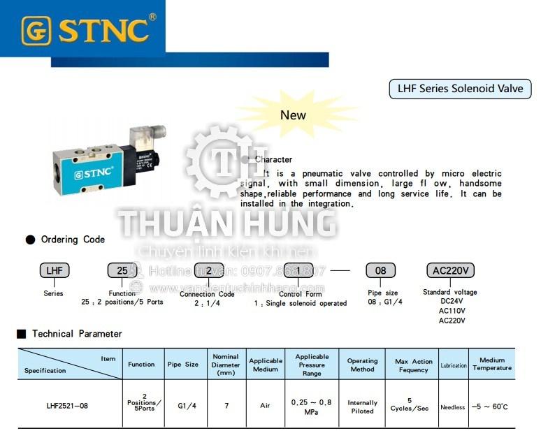 Thông số tính năng của van điện từ 5/2 STNC LHF2511-06