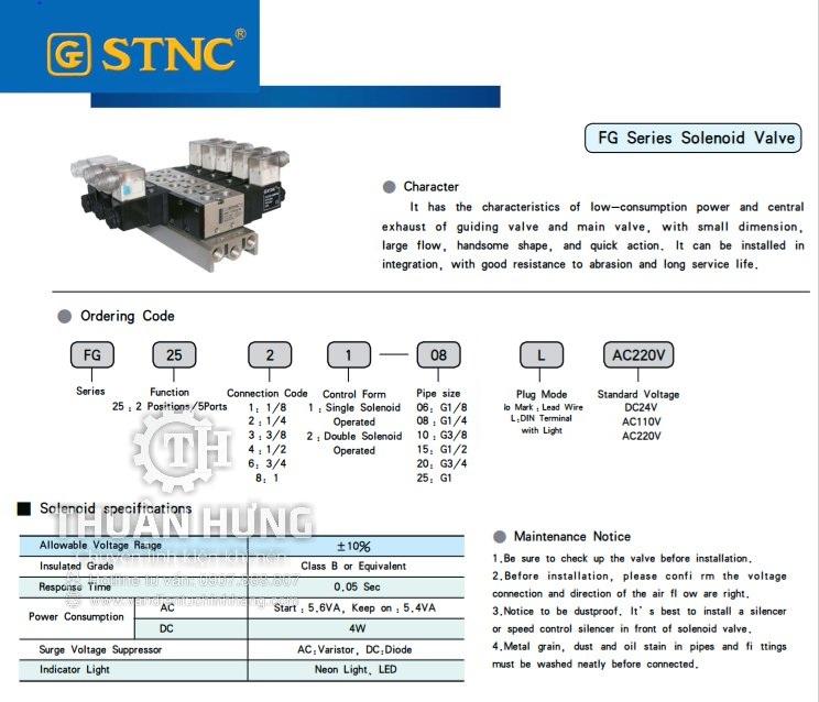 Thông số tính năng của van solenoid 5/2 STNC FG2561-20L