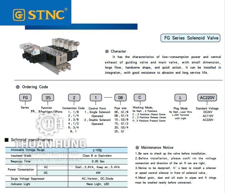 Thông số tính năng của van khí nén 5/3 STNC FG3562-20