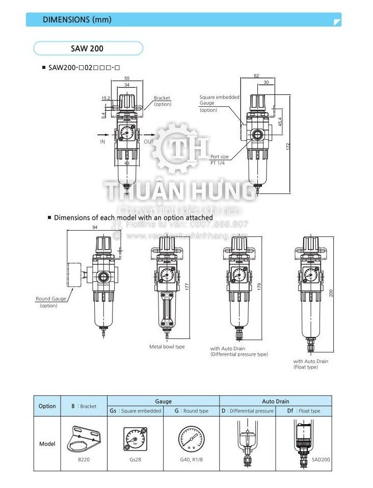 Kích thước của bộ lọc khí nén đơn SKP SAW600