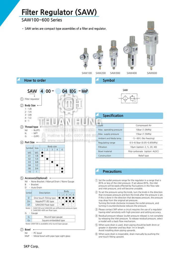Thông số kỹ thuật của bộ lọc khí nén đơn SKP SAW600