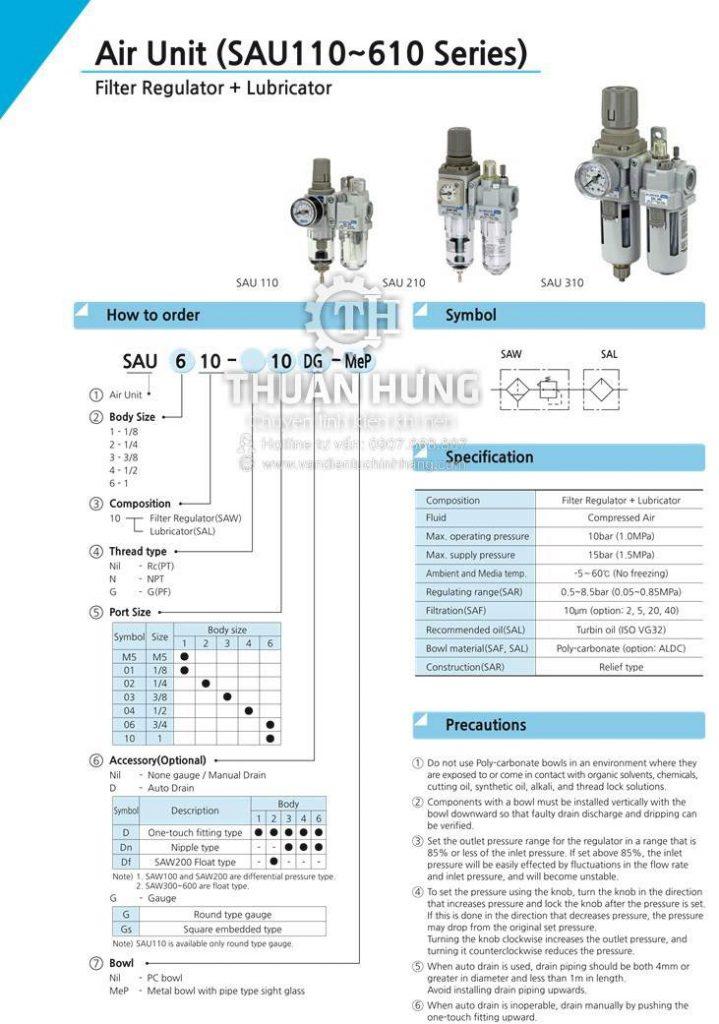 Thông số kỹ thuật và tính năng của bộ lọc khí nén đôi SKP SAU610