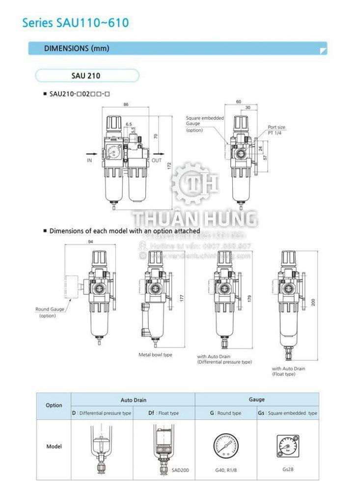 Kích thước của bộ lọc khí nén đôi SKP SAU 610