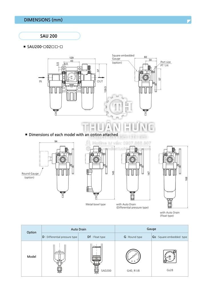 Kích thước của bộ lọc ba khí nén SKP SAU 200