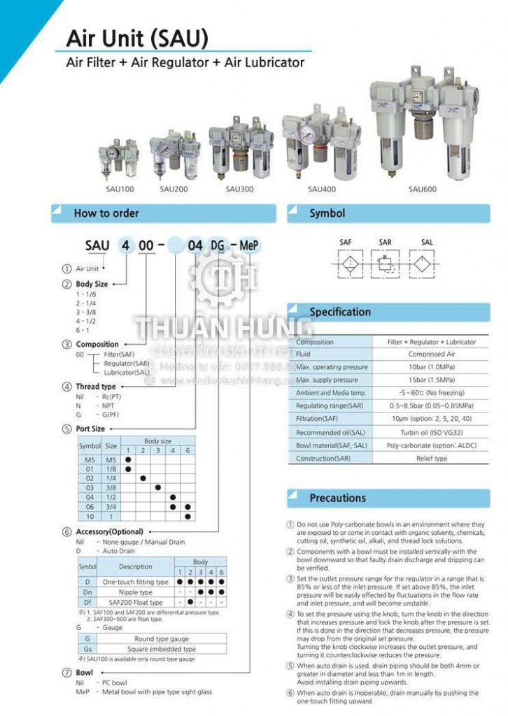 Thông số kỹ thuật tính năng của bộ lọc ba khí nén SKP SAU 200